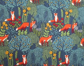 Blue Orange Yellow Gold Fox Woodland Forest Quilter's Weight Cotton Print Fabric - Material - Yardage - Fabric by the Yard