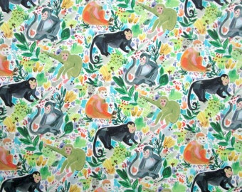 Green Orange Gray Monkeys Jungle Wild Animals Quilter's Weight Cotton Print Fabric - Material - Yardage - By the Yard