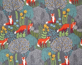 Gray Orange Green Turquoise Yellow Fox Woodland Forest Quilter's Weight Cotton Print Fabric - Material - Yardage - Fabric by the Yard