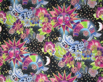Laurel Burch Celestial Suns Moons Flowers Fish Black Pink Green Blue Quilter's Weight Cotton Print Fabric - Material - Yardage - By the Yard