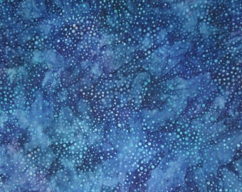 Batik Blue Purple Turquoise Celestial Dots Quilter's Weight Cotton Fabric - Dyed Material - Yardage - By the Yard - Quilting