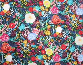 Black Purple Pink Orange Yellow Blue Green Flowers Floral Quilter's Weight Cotton Print Fabric - Material - Yardage - Fabric by the Yard