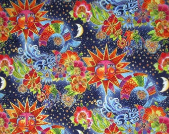 Laurel Burch Celestial Suns Moons Flowers Fish Blue Rainbow Quilter's Weight Cotton Print Fabric - Material - Yardage - By the Yard