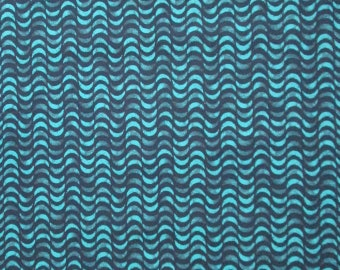 Turquoise Teal Blue Crescent Moons Rows Stripes Quilter's Weight Cotton Print Fabric - Material - Yardage - By the Yard