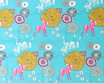 Moose Flowers Floral Teal Pink Yellow White Quilter's Weight Cotton Print Fabric - Material - Yardage - By the Yard