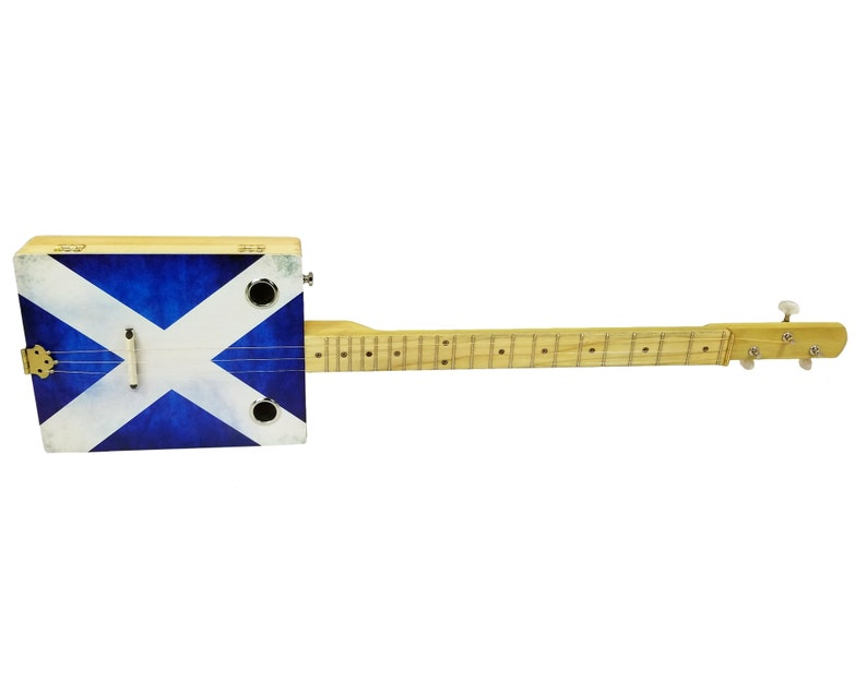 Scotland the Brave - 3-String Illustrated Acoustic/Electric Cigar Box  Guitar featuring the Scottish Flag