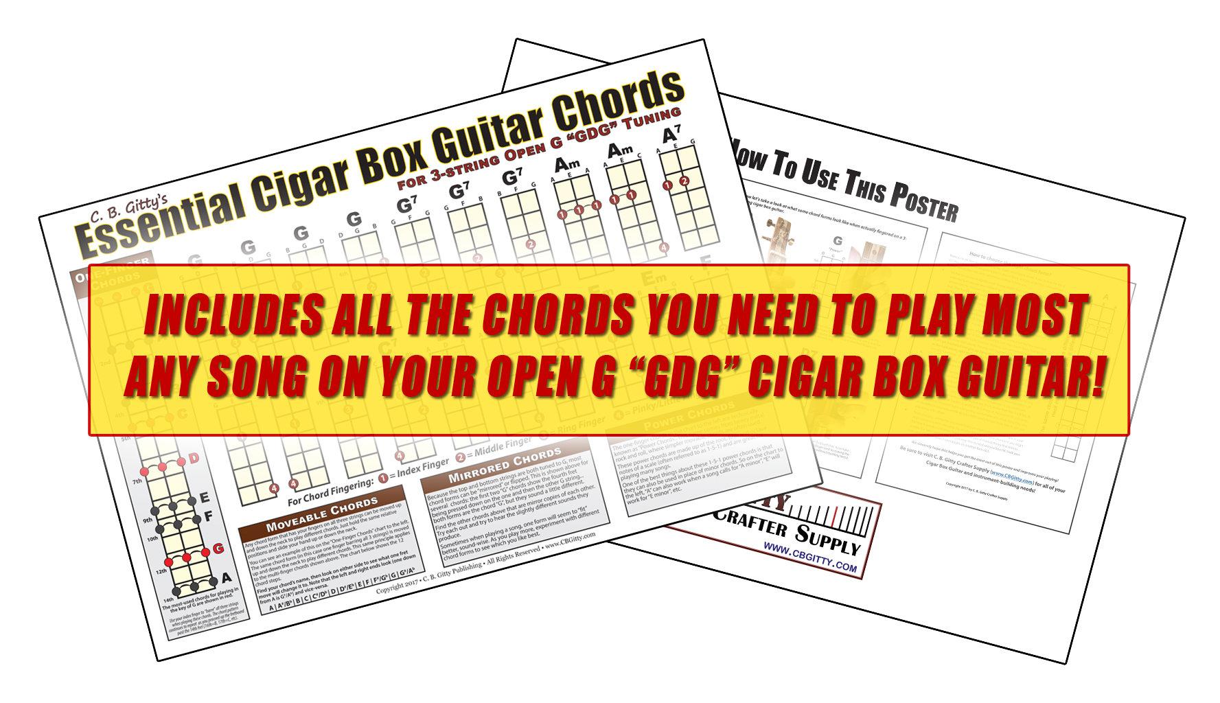 Open G Gdg Essential Cigar Box Guitar Chords Etsy