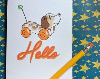 Hello - Fisher Price snoopy dog illustrated greeting card