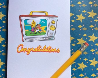 Congratulations - Fisher Price musical television illustrated greeting card
