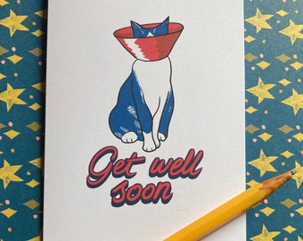 Get Well Soon - cat in cone illustrated greeting card