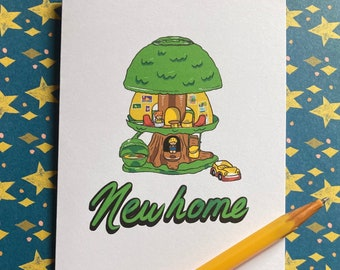 New Home - Fisher Price treehouse illustrated greeting card
