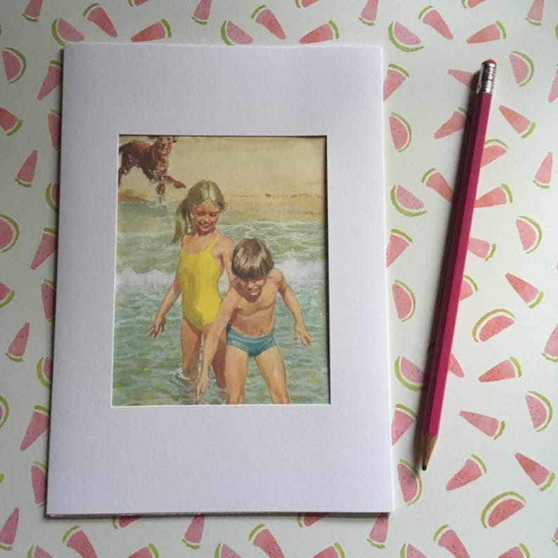 Ladybird book page large greeting card  boy and girl playing image 0