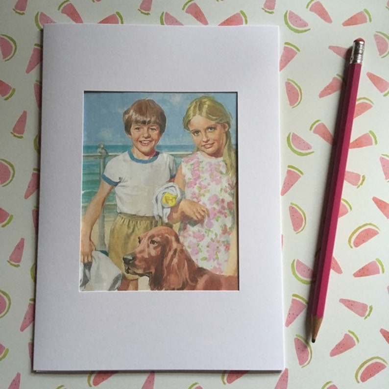 Ladybird book page large greeting card  boy and girl smiling image 0