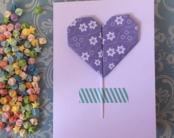 Greeting card with removeable origami decorative stick - flowers (pick colour)