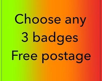 ANY THREE Vintage mash-up pin badges - free shipping saver UK