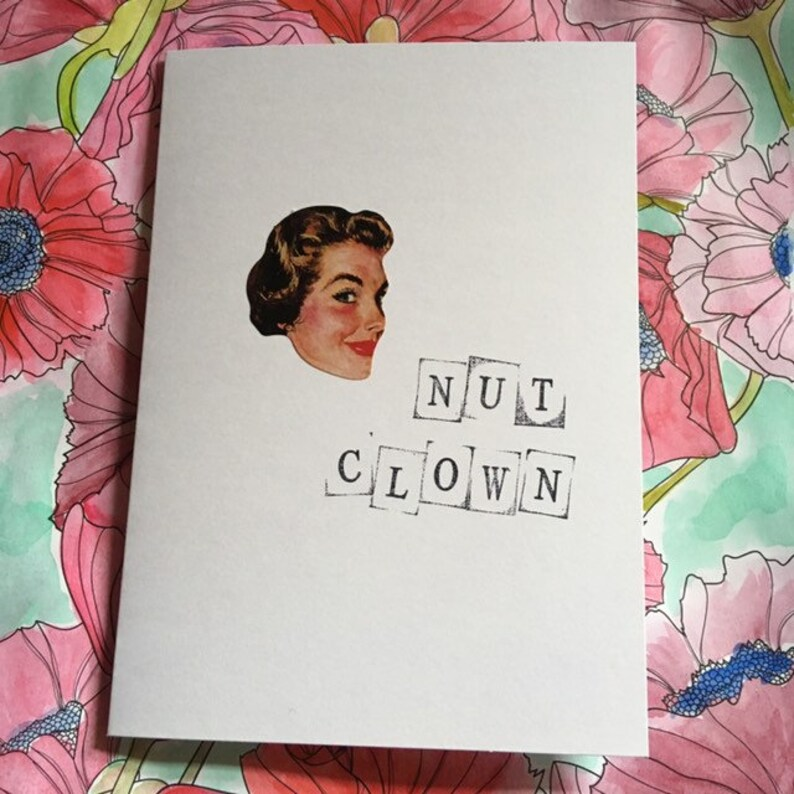Insulting vintage image greeting card  'Nut Clown' image 0