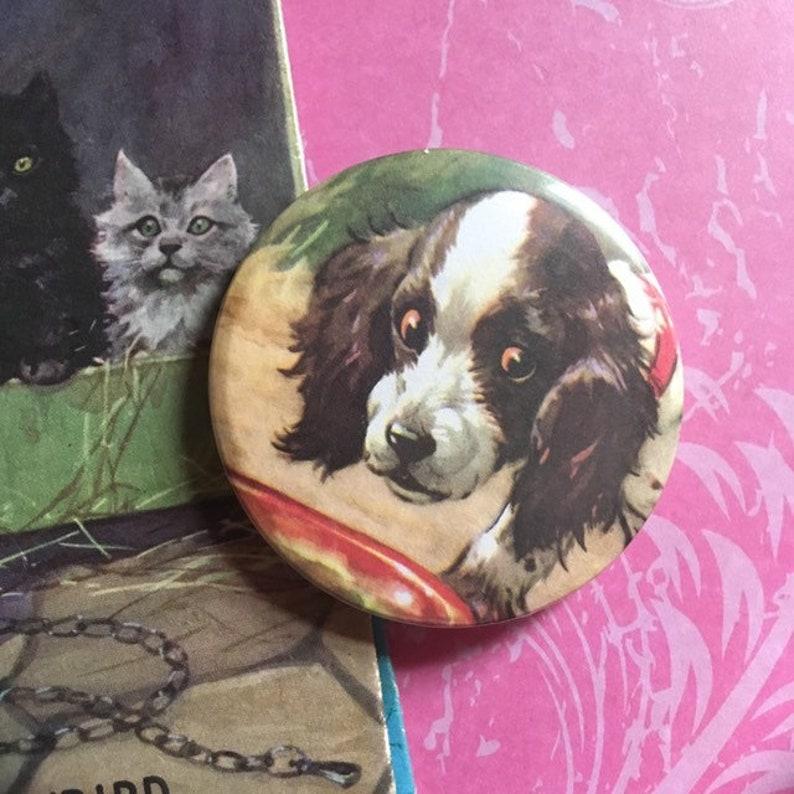 Vintage Ladybird Book Illustration Pin Badge  'Puppies image 0
