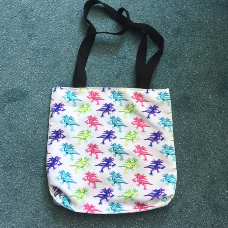 Printed tote bag  lined with long handles  spacious and hard image 0