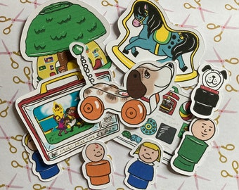 Vintage Fisher Price toys sticker pack - 10 die cut paper stickers (5 big, 5 small)