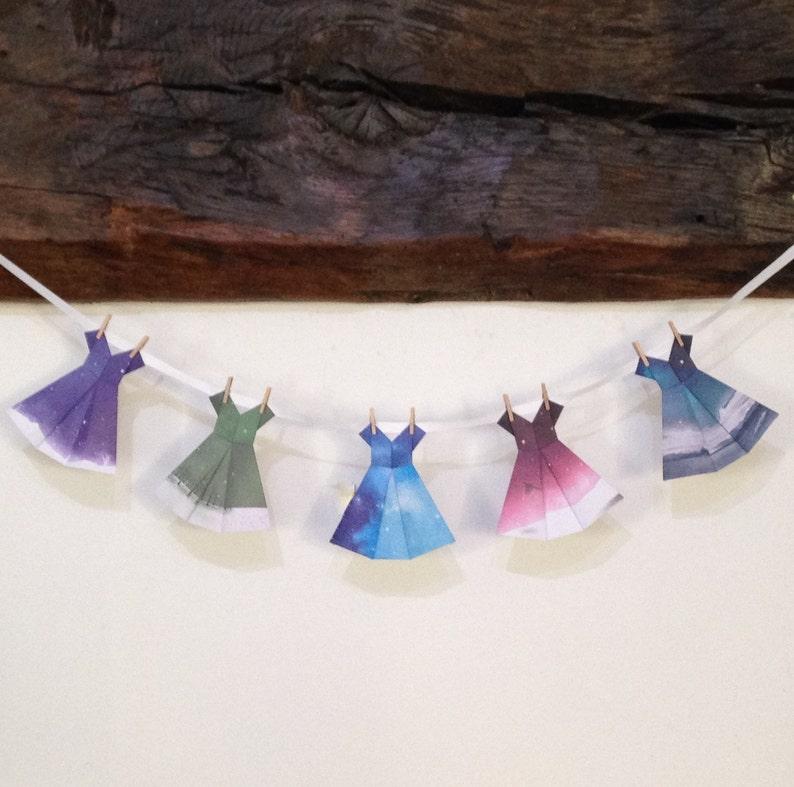 SALE Origami bunting garland 5 multi blue patterned kraft paper dresses 2