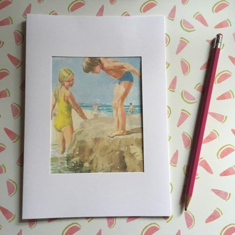 Ladybird book page large greeting card  boy and girl at the image 0
