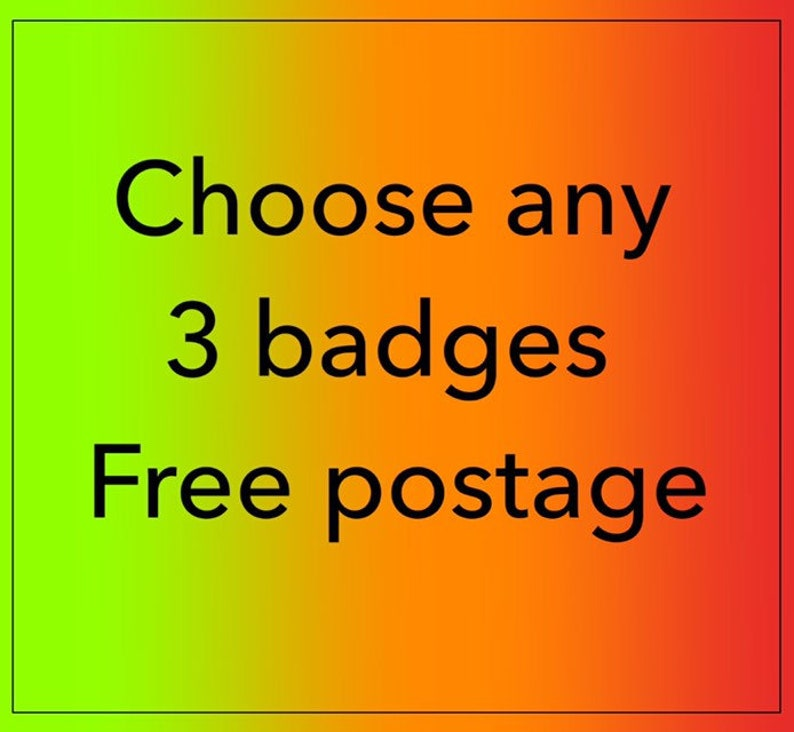 ANY THREE Vintage mash-up pin badges  free shipping saver image 0