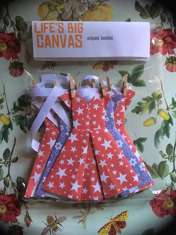 SALE Origami bunting garland - bright red stars and blue flowers patterned dresses