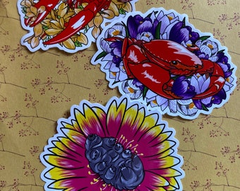 Vinyl sticker pack - sea creatures with flowers - lobster, crab and tardigrade