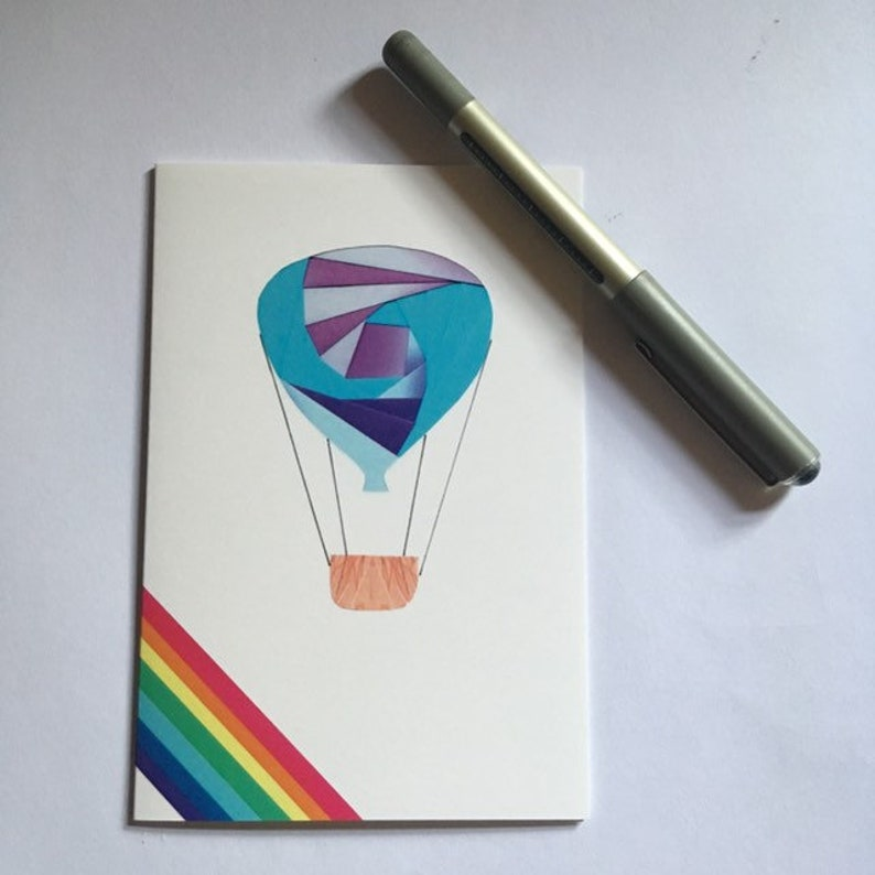 Iris folded scene greeting card printed  hot air balloon image 0