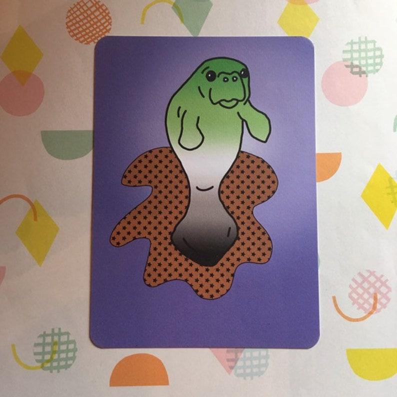 Aro-manatee  aromantic manatee  animal pride postcard print image 0