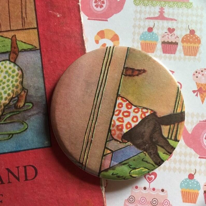 Vintage Ladybird Book Illustration Pin Badge  'Smoke & image 0