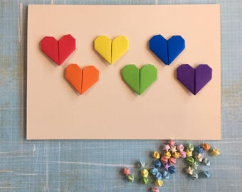 Origami large greeting card - mini rainbow hearts