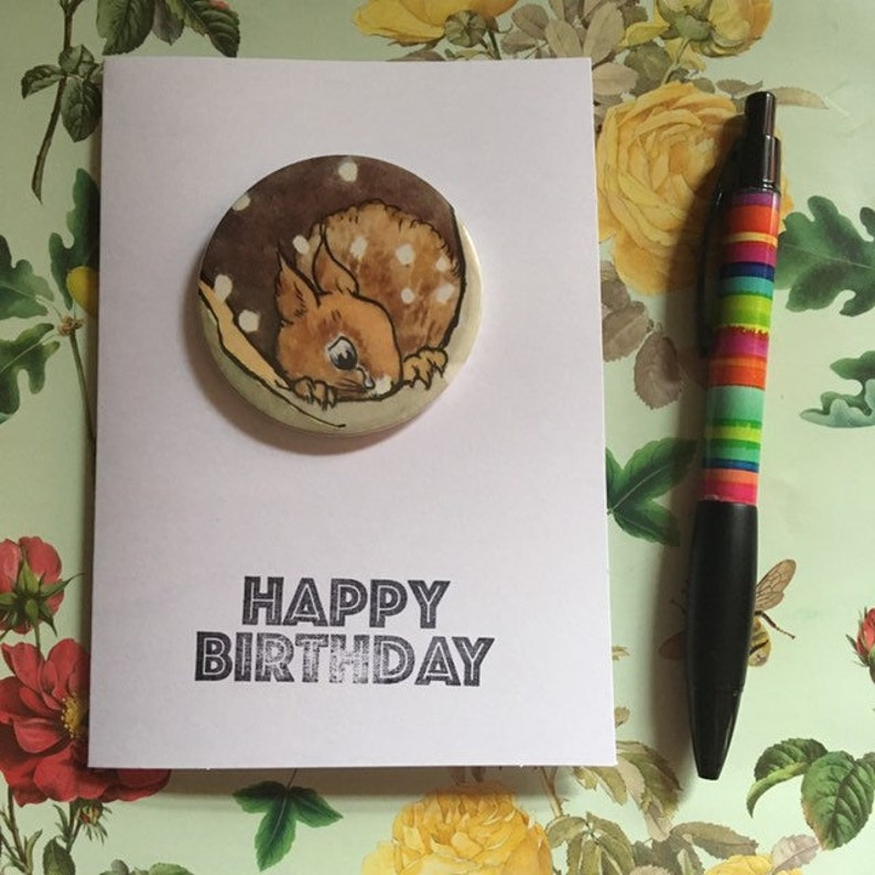 Happy Birthday card  including badge made from old Ladybird image 0