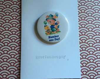 Father's Day card - including 'Number One Pop!' pin badge