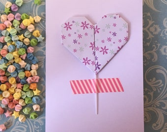 Greeting card with removeable origami decorative stick - ditsy flowers (pick colour)