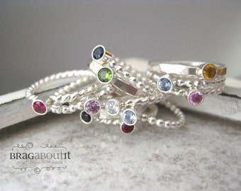 Stacking Ring .  Birthstone Ring . Sterling Silver Birthstone Stacking Ring . Brag About It