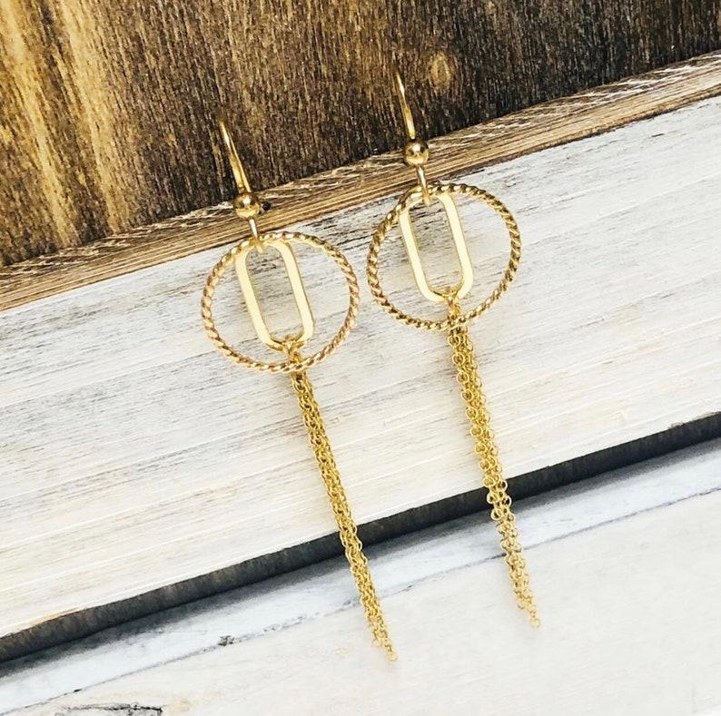 O . Long Simple Tassel & Hoop Earrings .  Gold Filled . Brag image 0