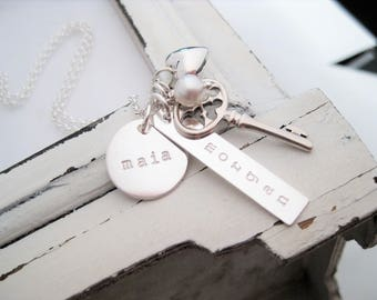 Hand Stamped Necklace . Hand Stamped Personalized Jewelry . Brag About It . Key To My Heart