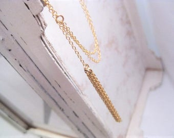 Gold Filled  Tassel Lariat . Y Necklace
