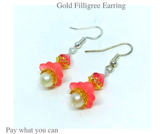 Frosted Flower Bloom Coral Color and Gold Filigree Earrings Gifts for Her Pay What You Can
