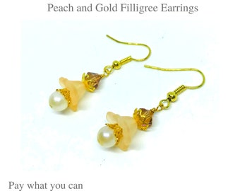 Peach and Gold Filigree Earrings Gifts for Her Pay What You Can