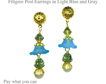 Frosted Flower Bloom Blue Color and Gold Filigree Swarovski Earrings Gifts for Her Pay What You Can