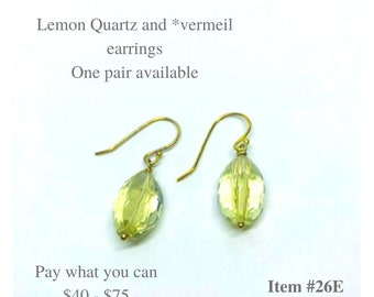 Faceted Lemon Quartz and Vermeil Sterling Silver Earring  Gifts for Her Pay What You Can