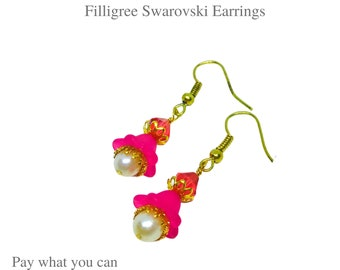 Frosted Flower Bloom Bright Pink Color and Gold Filigree Swarovski Earrings Gifts for Her Pay What You Can