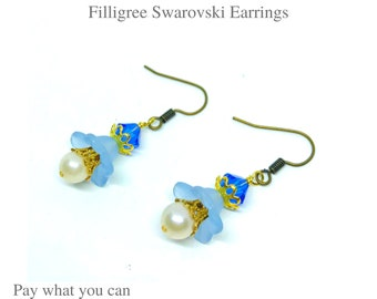 Frosted Flower Bloom Light Blue Color and Gold Filigree Swarovski Earrings Gifts for Her Pay What You Can