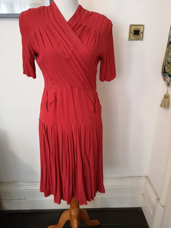 Vintage 40s coral red rayon pleated dress