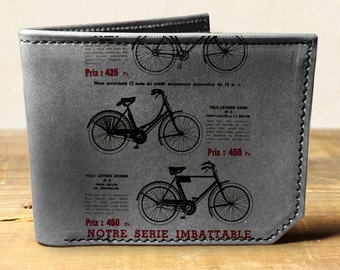 Mens leather wallet, Mens wallet, bicycle wallet, leather wallet, slim wallet, fathers day gift, leather wallet mens, bifold wallet