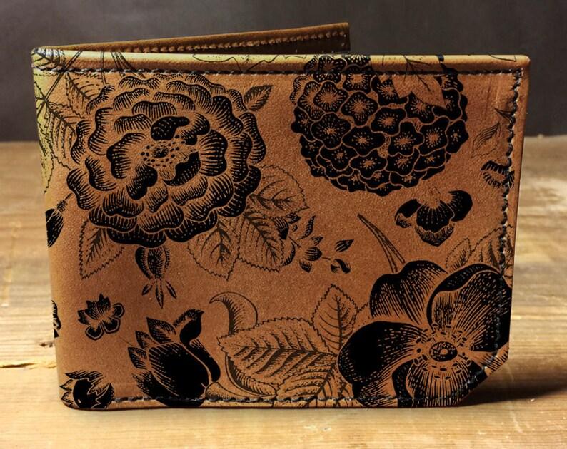 f2514b312bf05 Mens skórzany portfel Mens portfel wzór kwiatowy portfel