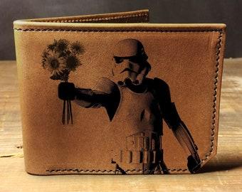 Mens leather wallet, Mens wallet, stormtrooper wallet, leather wallet, slim wallet, back to school, leather wallet mens, bifold wallet