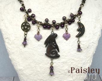 Lunar Hare Talisman statement necklace, boho art jewelry by Paisley Lizard